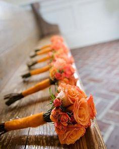 Whenever we think about orange, the first impression we have is warmth and brigthness. That's probably the main reason why people like having orange weddings. There are many flowers and plants come in orange an. Burnt Orange Weddings, Orange Wedding Colors, Fall Wedding Colors, Orange Flowers, Autumn Wedding, Orange Wedding Bouquets, Orange Rose Bouquet, Wedding Budget Planner, Wedding Planning