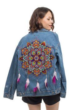 Fringe Leather Jacket, Vintage Leather Jacket, Crystal Mandala, Denim Art, Moda Boho, Zara, Embroidered Jacket, Mandala Art, Denim Fashion