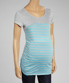 This Turquoise & Gray Stripe Ruched Maternity Cap-Sleeve Tee - Women by Mom & Co. is perfect! #zulilyfinds