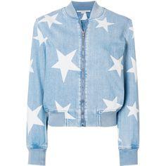 Stella McCartney denim Star bomber jacket (86,520 INR) ❤ liked on Polyvore featuring outerwear, jackets, blue, summer denim jacket, zip front jacket, flight jackets, tailored jacket and stella mccartney jacket