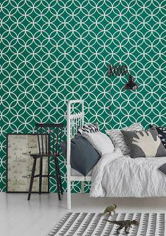 Self adhesive vinyl temporary removable wallpaper, wall decal - Circles lattice pattern print  - 035 EMERALD/ VENICE