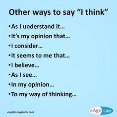 Other ways to say I think {Hilfe im Studium English Writing Skills, Book Writing Tips, Writing Words, English Vocabulary Words, Learn English Words, English Phrases, Life Hacks For School, School Study Tips, English Tips