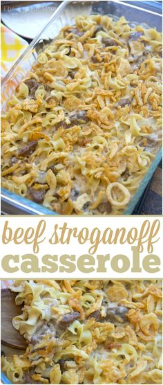 You have got to try this easy beef stroganoff casserole recipe! It is amazing!! Super simple to make, creamy, and total comfort food even my kids love. via /thetypicalmom/