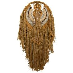 1970s Jute Macrame Dream Catcher Wall Hanging ($495) ❤ liked on Polyvore featuring home, home decor, wall art, sculptural wall objects, dream catcher home decor, macrame wall hanging, handmade home decor, handmade wall art and macrame wall art