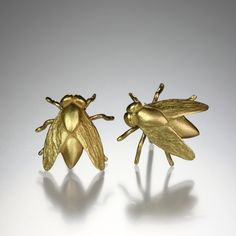 "Gabriella Kiss...A pair of 18K yellow gold fly studs, measuring approximately 1/2""  long."