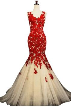 Sunvary Champagne and Red Mermaid Lace Prom Dresses for Evening Formal Gowns Long - US Size 2- Champagne and Red