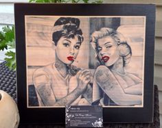 Audrey Hepburn tattooing Marilyn Monroe  Picture 11x13