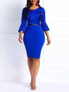 Silhouette:Bodycon Dress Length:Knee-Length Sleeve Length:Three-Quarter Sleeve Neckline:Round Neck Combination Type:Single Waist Line:High-Waist Closure:Pullover Elasticity:High Elasticity. African Fashion Dresses, African Dress, Classy Dress, Classy Outfits, Elegant Dresses, Casual Dresses, Dress Outfits, Fashion Outfits, Dress Fashion