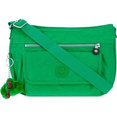 KIPLING Syro nylon shoulder bag (£69) ❤ liked on Polyvore featuring bags, handbags, shoulder bags, mojito green, green purse, green shoulder bag, kipling handbags, kipling and pocket purse