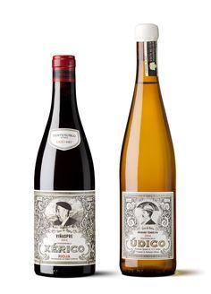 Xérico y Údico - packaging Wine Label Art, Wine Bottle Labels, Wine Bottle Design, Wine Label Design, Beverage Packaging, Bottle Packaging, Wine Time, Wine And Spirits, Cellar