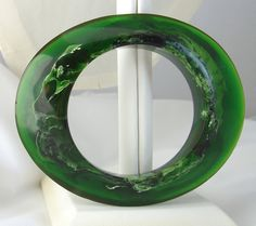 Vintage Lucite Bangle 1970s Mod / Marbled by BuyVintageJewelry