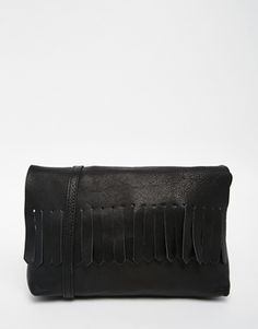 ASOS Soft Leather Cross Body Bag With Fringing