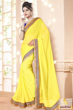 Appear bright and stylish best yellow chiffon wedding wear saree with discounts deal with best prices. The fashionable embroidery worked designer wedding party saree is graceful to purchase online with discount sale 2015-2016. #sarees, #embroiderysaree, #partywearsaree, #diwalisareecollection, #weddingwearsaree, #indiansaree, #sareewithblouse More : http://www.pavitraa.in/store/embroidery-saree/ Call / WhatsApp : +91-76982-34040  E-mail: info@pavitraa.in