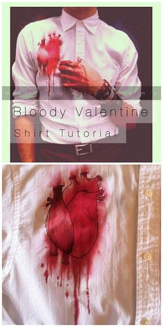 """Re. Tired of all the heart garlands and sweet Valentines? DIY Bloody Valentine Heart Shirt Tutorial from Boi From Ipanema here. You can make this as easy of a project as you want by changing up the materials used. Really clear instructions for this unique way to say """"I HEART YOU"""".  For lots more unique Valentines Day DIYs go here: truebluemeandyou.tumblr.com/tagged/hearts"""