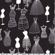 45'' Wide Michael Miller Dress Forms Black & White Fabric By The Yard