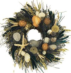 SOUTH SEA ISLAND WREATH  - SEASHELL WREATH - SUMMER WREATH - STARFISH