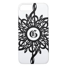 MELTPOINT Ornamental Monogram Black G-Clef White iPhone 7 Case - monogram gifts unique custom diy personalize