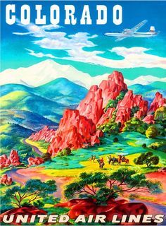Colorado Rocky Mountains United States Vintage Travel Advertisement Art Poster