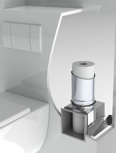 Zeer elegante oplossing voor reserve WC-rollen: ingebouwde wc-rolhouder. Kan in de nis van zwevend toilet, diepte 18 cm? Zie inbouwspecs op site.