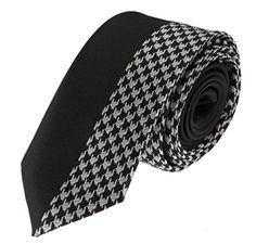 Mens Skinny Panel Necktie Silver Houndstooth Pattern Vertical Contrast Tie - Brought to you by Avarsha.com