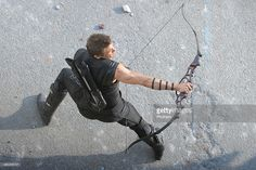 Jeremy Renner is seen filming on location for 'Avengers: Age of Ultron' on March 24, 2014 in Aosta, Italy.  (Photo by Photopix/Getty Images)