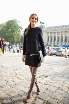 At Paris Fashion Week, two big trends for fall: plaid and over-the-knee boots.
