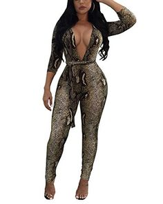 89cace203eb MIXI Snake Skin Print Women Jumpsuits Long Sleeve Bodysuits Deep V Neck  Sexy Club Romper Bodycon Jumpsuit Sashes Autumn Overalls