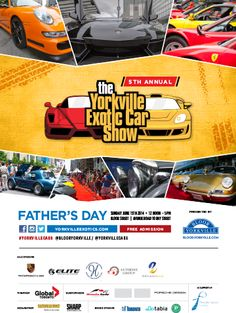 The 5th Annual Yorkville Exotic Car Show is on Father's Day, June 15, 2014 from 12 noon to 5 pm.