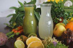 1.Grüner Saft aus Sprossen, Apfel, Zitrone & Wasser 2. Heller Saft aus Zitrone, Grapefuit, Wasser