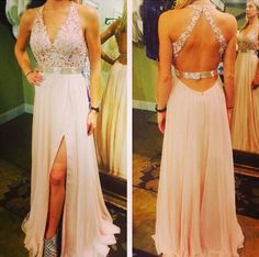 Light Pink V-neck Prom Dresses,Chiffon Backless Prom Dress,A Line Long Prom Gown With Lace Appliqued,Elegant Prom Dresses,Sexy Party Dress