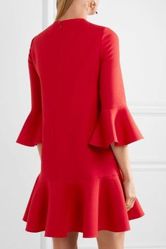 Valentino - Ruffle-trimmed Wool And Silk-blend Mini Dress - Red - IT