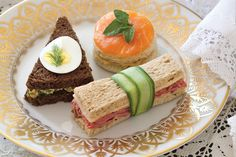 Roast Beef, Egg-and-Olive-Salad, and Smoked-Salmon Tea Sandwiches will satisfy afternoon appetites.