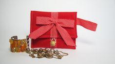 Pochette rossa - Portatrucchi in tessuto multifunzione - Portabijoux, portatabacco, portamonete - Idea regalo donna by RevesCreazioni #italiasmartteam #etsy