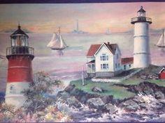Lighthouse Coastline Nautical Wallpaper Border 5 Yards Village Prepasted for sale online Coastal Wallpaper, Nautical Wallpaper, Wallpaper Borders, Lighthouses, Walkway, Main Colors, Yards, Basement, Sailing