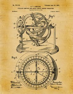 Patent 1902 Stellar Compass Nautical Art Print - Poster - Boat - Ship - Navigation Equipment - Stellar Compass - Nautical Art - Naval Art by BlueMoonPatentPrints