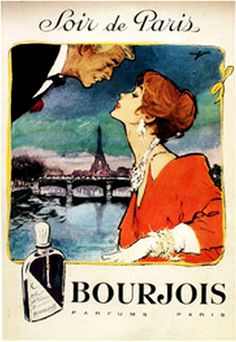 old poster -ad for Bourjois perfume Soir de Paris