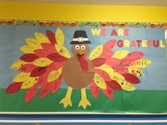 Our November bulletin board at school. Each child did a feather about what they are thankful for.
