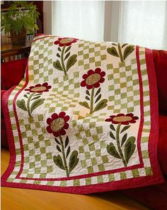 Urban Country Quilts- use house blocks instead of flowers...with the checkerboard