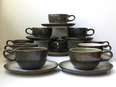 Gorgeous, vintage modern Heath Ceramics Sea and Sand stoneware coffee / tea cups set of 10 handmade in California. The outside of the cups $248 can