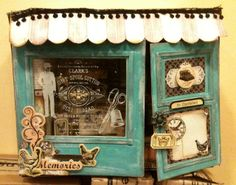 Little paper antique shop that opens to show the goods in the store