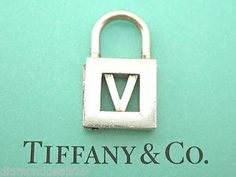"Tiffany & Co. Authentic Letter ""V"" Alphabet Padlock Charm Sterling Silver"