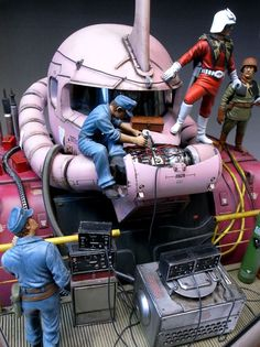 ZAKU with Colonel Char and mechanics. #gundam