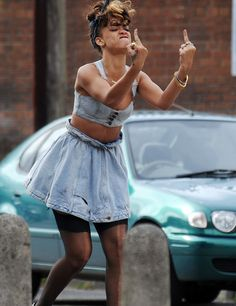 Rihanna filming for 'We Found Love' video