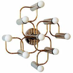 nine light flush mount light fixture  chrome and brass  wall or ceiling light