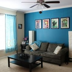Exceptional Wonderful Black Portray Frame Hang On Blue Painted Accent Wall Ideas Over  Dark Grey Velvet Couch Also Black Square Coffee Table Storage In Small Blue  Living ...