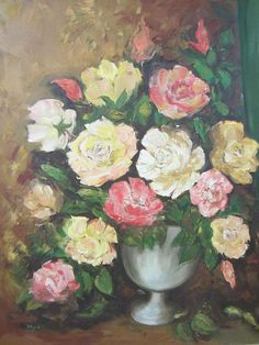 Still Life Impressionist Flowers Oil On Canvas Signed Myra