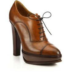 Ralph Lauren Collection Temple Leather Oxford Platform Booties ($850) ❤ liked on Polyvore featuring shoes, boots, ankle booties, apparel & accessories, brown, leather booties, brown leather boots, brown high heel boots, lace up boots and brown leather oxfords