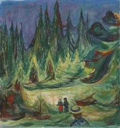 Edvard Munch (Norwegian, 1863-1944), Der Märchenwald [The Enchanted Forest], 1927-29. Oil on canvas, 85.5 x 80.4 cm.