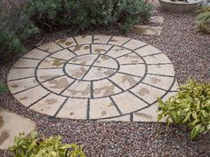 A Paving Circle With Stepping Stones Set Into A Gravel Garden