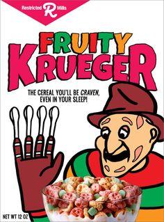 Nightmare on Elm Street Cereal Funny Box Art Fruity Krueger